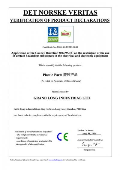 ROHS Certificate 1