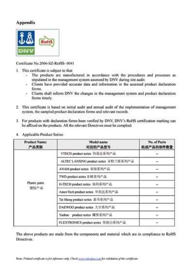 ROHS Certificate 2